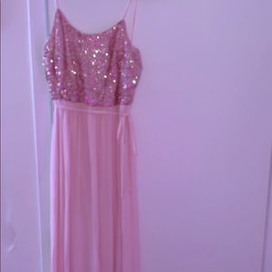 Baby pink and rose gold floor length dress